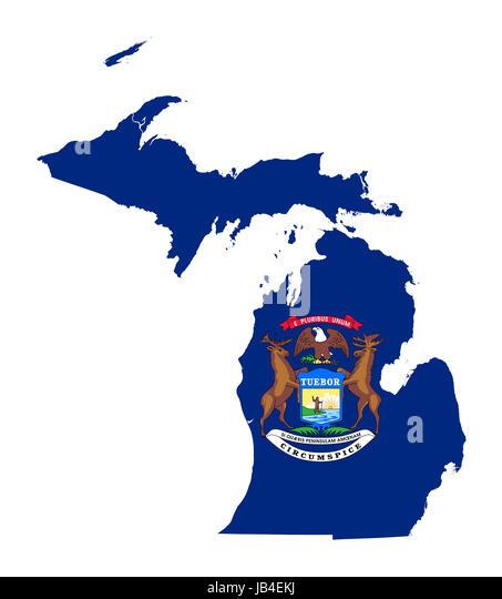Michigan State Map Stock Photos Michigan State Map Stock Images - Michigan state map usa