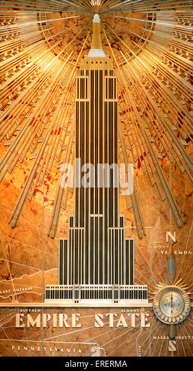 Empire state building interior lobby stock photos empire for Empire state building art deco interior