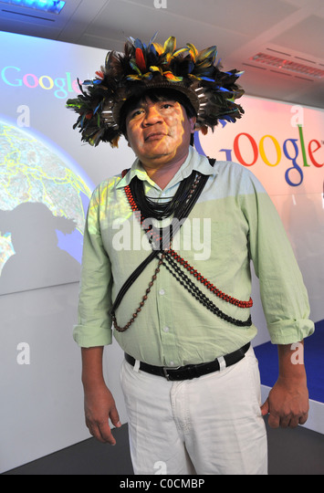 chief almir surui the launch of google earth outreach held at belgrave house london england belgrave house google london office