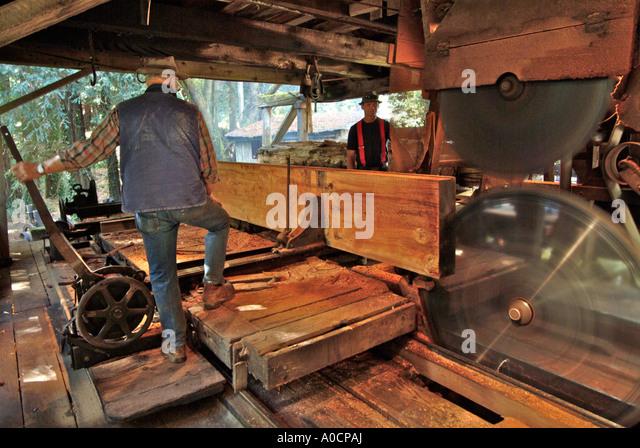 Sawing redwood log stock photos sawing redwood log stock for Mill log