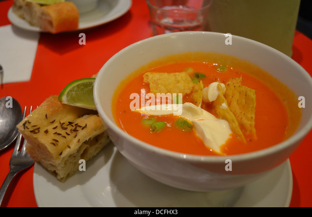 Food - Gazpacho a tomato soup with corn chips and creme fraiche on & Colorful Mexican Table Setting Restaurant Stock Photos \u0026 Colorful ...