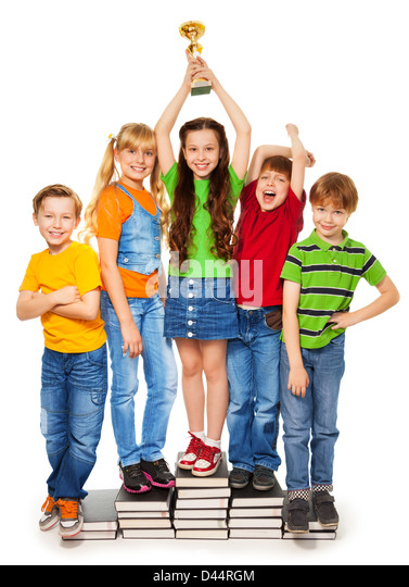 children cheering classmates stock photos children cheering
