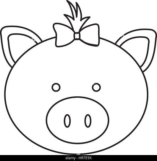 Line Drawing Of A Pig Face : Animal cartoon head line art stock photos