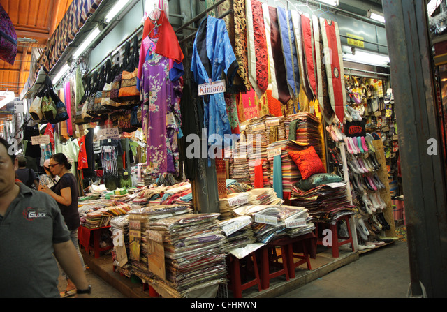 Thai Silk Shop In Chatuchak Stock Photos