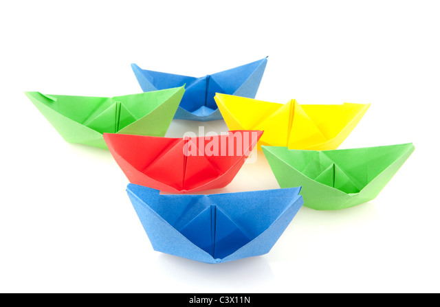 Colorful Folded Paper Boats Isolated Stock Photos Colorful Folded