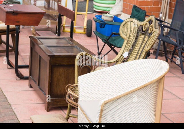 Second hand furniture on sale outside a vintage shop   Stock Image. Used Furniture For Sale Stock Photos   Used Furniture For Sale