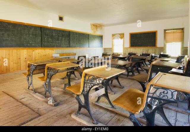 Schoolroom Interior With Desks And Blackboard Bannack State Park Montana