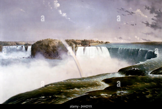 NIAGARA FALLS  Currier & Ives print 1868 - Stock Image