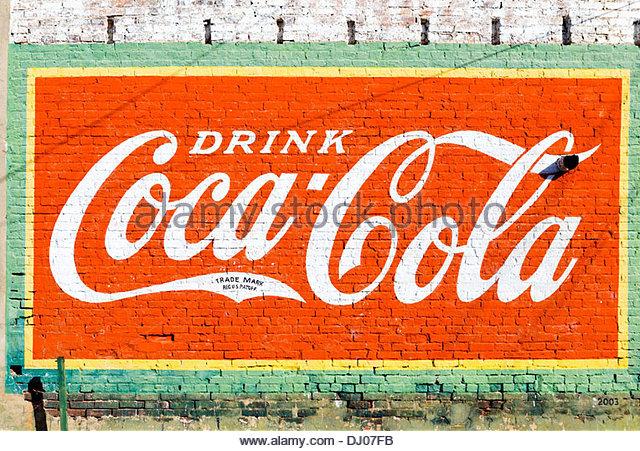 Coca cola advertisement america stock photos coca cola for Coca cola wall mural