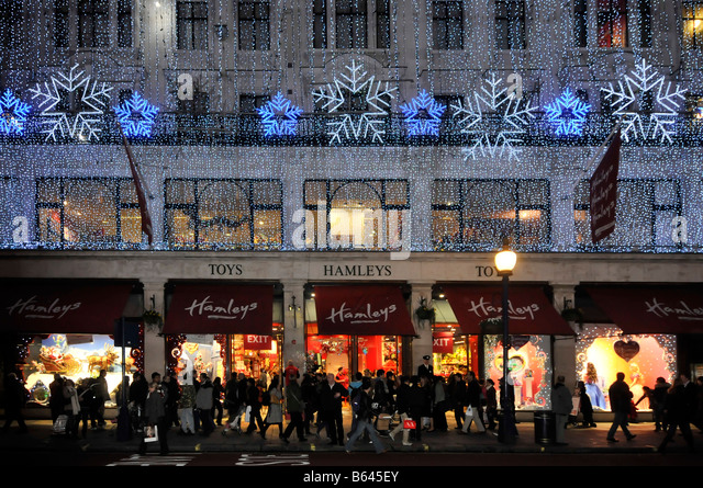 hamleys toy store regent street with christmas lights stock image - Christmas Lights Store