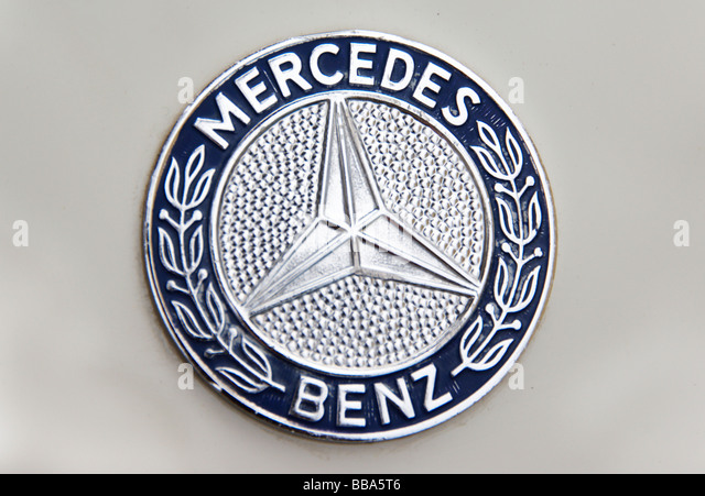 old mercedes benz logo on classic car stock image