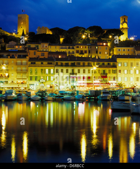 cannes harbour night stock photos cannes harbour night stock images alamy. Black Bedroom Furniture Sets. Home Design Ideas