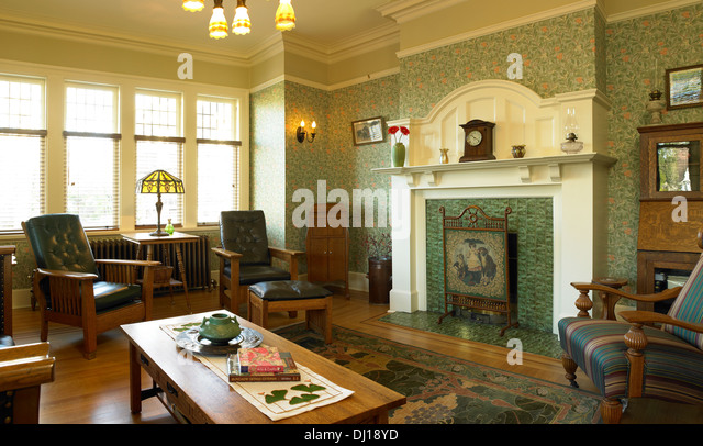 Livingroom Of Arts And Crafts Style Home, Victoria, British Columbia    Stock Image