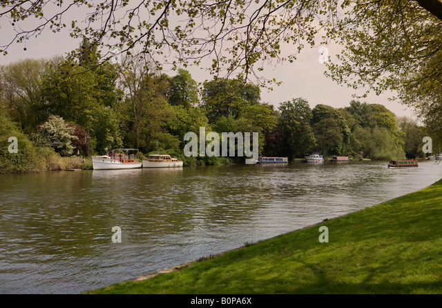 Pleasure Boats On The River Thames In Berkshire Viewed From Windsor Home Park Castle
