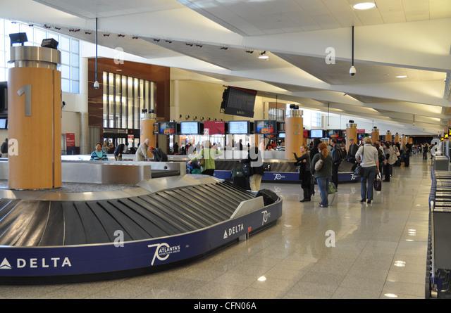 baggage claim at atlanta international airport stock image