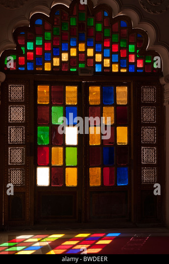 Mehrangarh palace interior stained glass stock photos mehrangarh coloured glass door at mehrangarh fort stock image planetlyrics Image collections