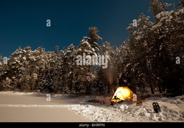 STARS LEAVE TRAILS IN THE NIGHT SKY ABOVE WINTER CAMP SITE - Stock Image & Snowtrekker Tent Stock Photos u0026 Snowtrekker Tent Stock Images - Alamy