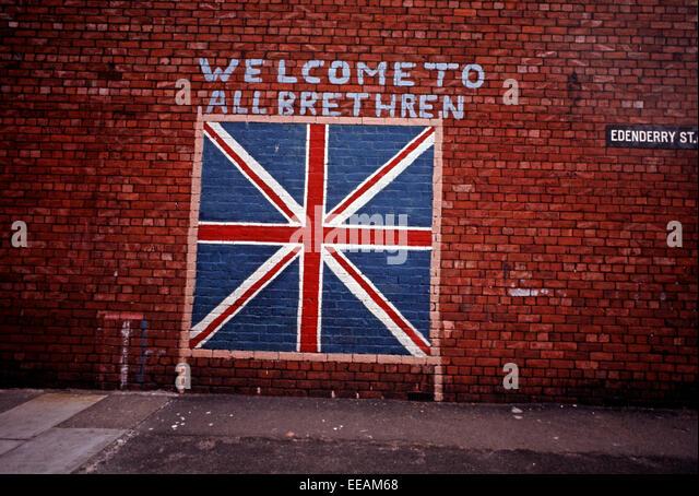 BELFAST, NORTHERN IRELAND   SEPTEMBER 1971. Loyalist Mural Of The Union Jack  Flag.