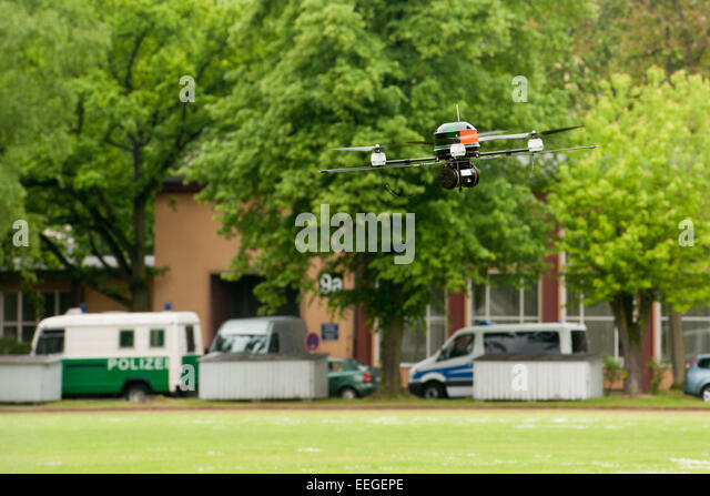 Berlin germany presentation of the drone of the berlin police