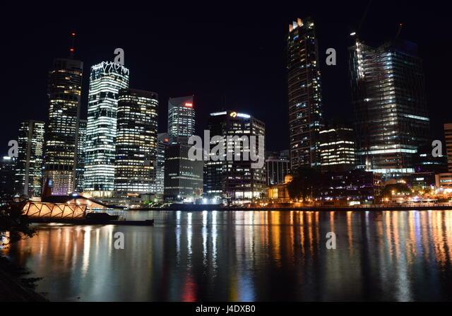 Brisbane City Night Skyline - Stock Image