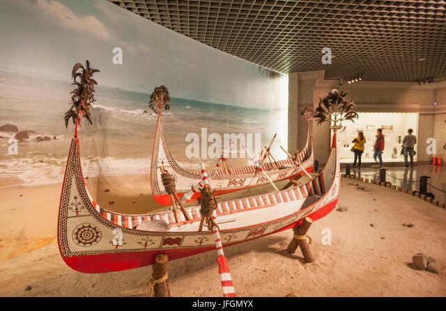 China, Shanghai, Shanghai Museum, Wooden Fishing Canoes from Lanyu, Taiwan - Stock Image