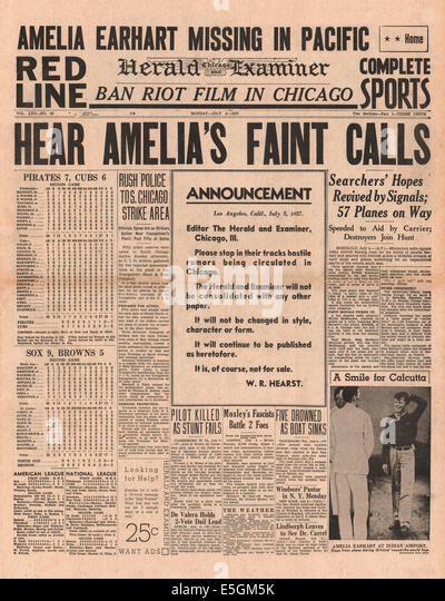 1937 Chicago Herald Examiner (USA) front page reporting Amelia Earhart [R