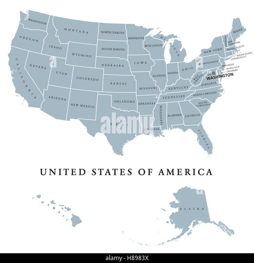 United States Map Alaska And Hawaii Stock Photos United States - Usa map with hawaii and alaska