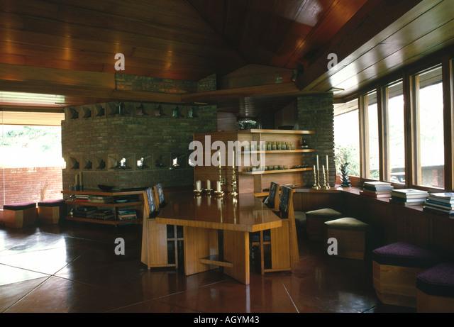 Frank lloyd wright house interior stock photos frank for Palmer house ann arbor