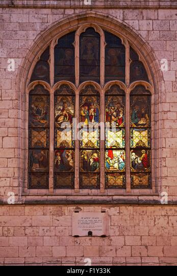 France Loiret Montargis Mary Magdalene Church Stained Glass Window From Outside