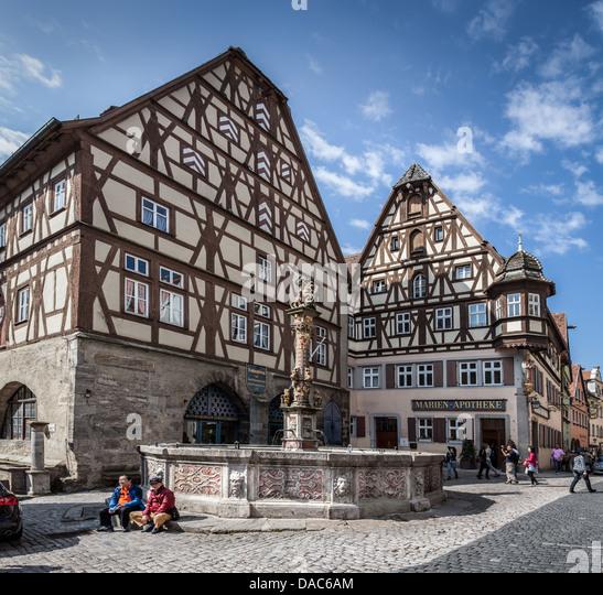 Traditional half timber-framed buildings, Rothenburg ob der Tauber,  Germany, Europe.