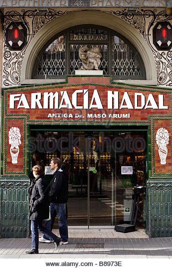 Farmacia pharmacy barcelona spain stock photos farmacia - Art deco barcelona ...