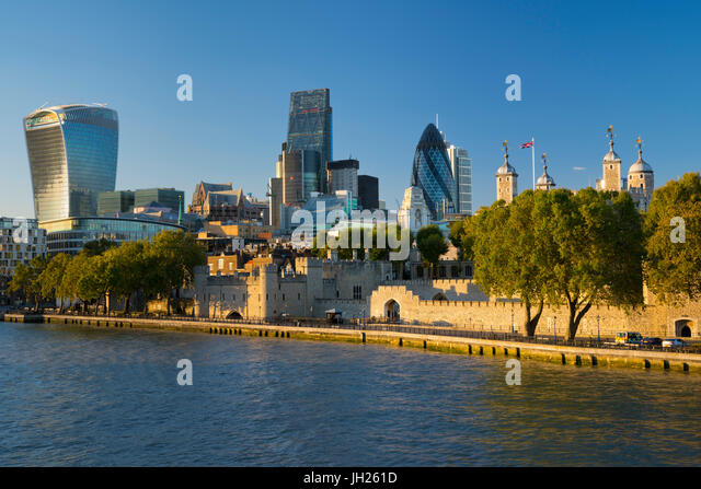 View of the Financial District of the City of London, and the Tower of London, London, England, United Kingdom, - Stock Image