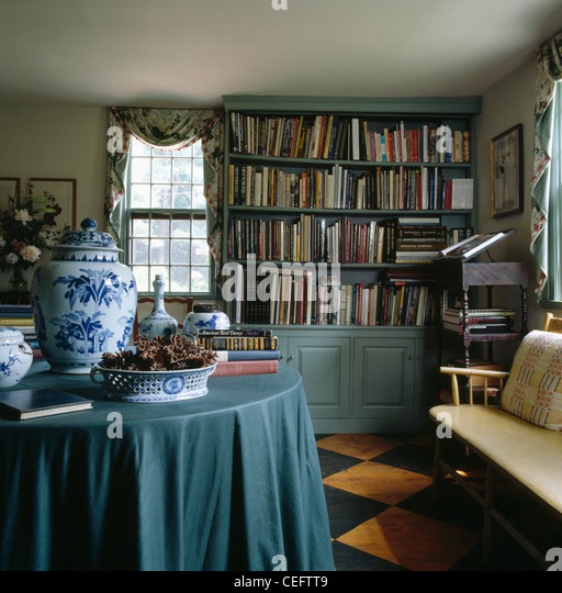 Sage Green Dining Room: Sage-green Cloth On Table With Blue+white China Pots In