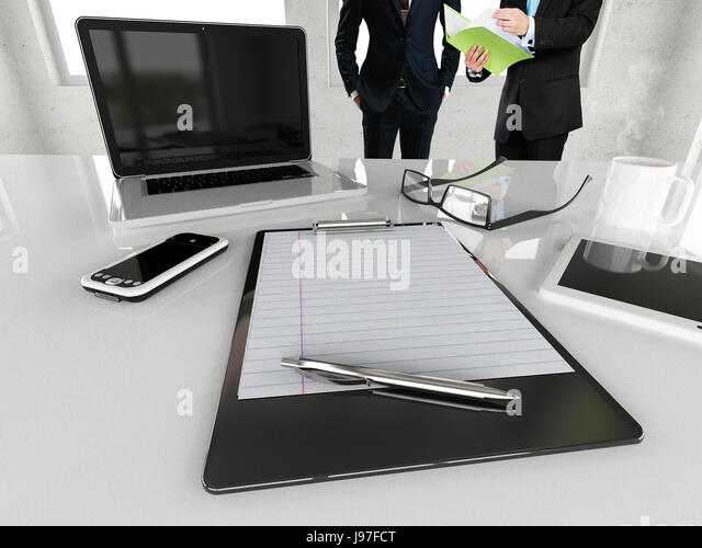beautiful bright office. beautiful bright office space with two men interacting in front of desk 3d render