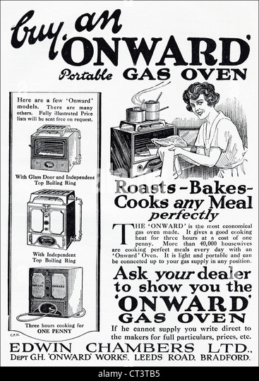 original 1920s vintage print advertisement from english consumer magazine advertising onward portable gas oven   stock vintage kitchen appliances stock photos  u0026 vintage kitchen      rh   alamy com
