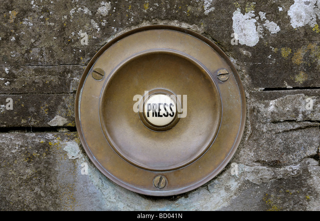 Antique period doorbell push set in stone wall - Stock Image - Antique Doorbell Stock Photos & Antique Doorbell Stock Images - Alamy