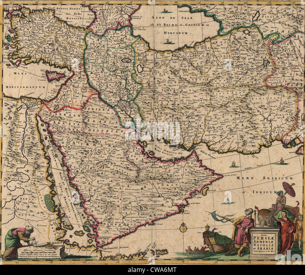 Ottoman empire map stock photos ottoman empire map stock images 1666 map of southwest asia showing arabia persia and ottoman empire sciox Images