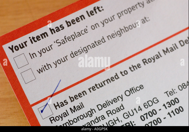 Missed Delivery Stock Photos  Missed Delivery Stock Images  Alamy