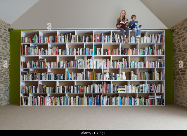 Children sitting on top of bookshelves - Stock Image - Children Boy Girl Library Shelf Stock Photos & Children Boy Girl