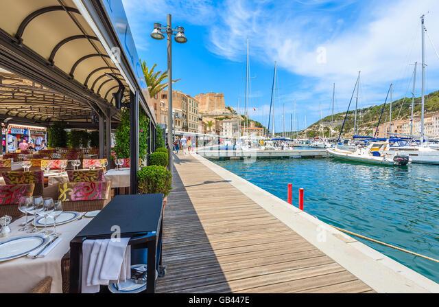 Bar cafe restaurant on promenade stock photos bar cafe for Restaurant bonifacio port