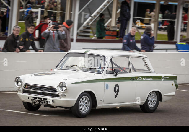 1964 ford lotus cortina mk1 with driver katsuaki kubota during the whitmore cup race at
