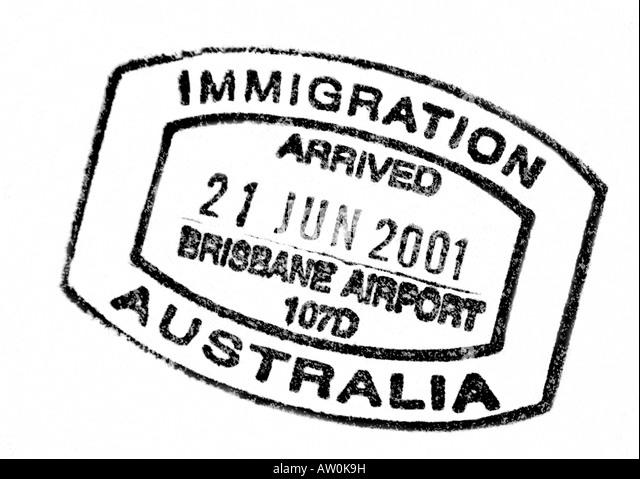 Australian Passport Immigration Stamp Artwork By Bruce Miller