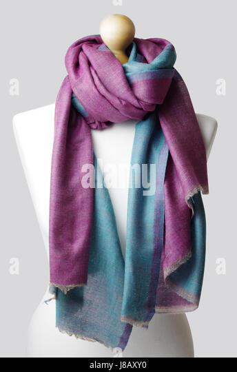Handmade 100% cashmere classy woman's shawls. Product photography, London Studios , UK - Stock Image