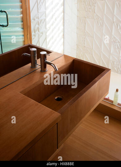 View Of Wooden Sink In Bathroom. Floating House, Private Island, Georgian  Bay,
