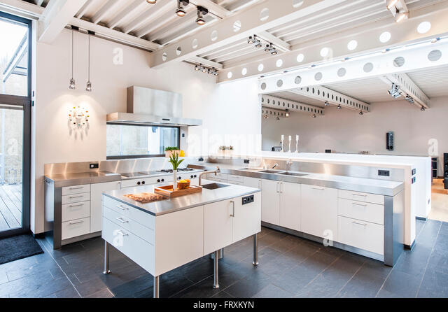 open plan kitchen inside a bauhaus villa sauerland germany stock image - Villa Sauerland