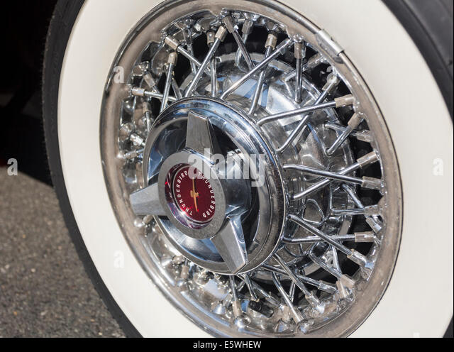 whitewall tire on ford thunderbird car usa stock image