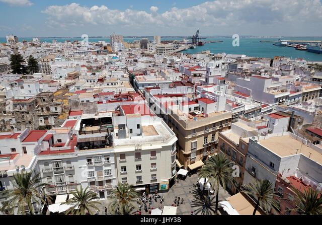 Aerial view of Cadiz, from Cadiz Cathedral (Catedral de Santa Cruz de Cádiz), Plaza Catedral, Cadiz, Spain - Stock Image