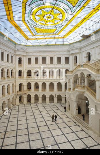 Courtyard of the Warsaw University of Technology, Poland - Stock Image