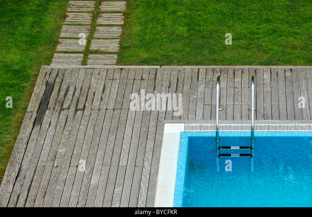 Rectangle Pool Aerial View outdoors public swimming pool stock photos & outdoors public