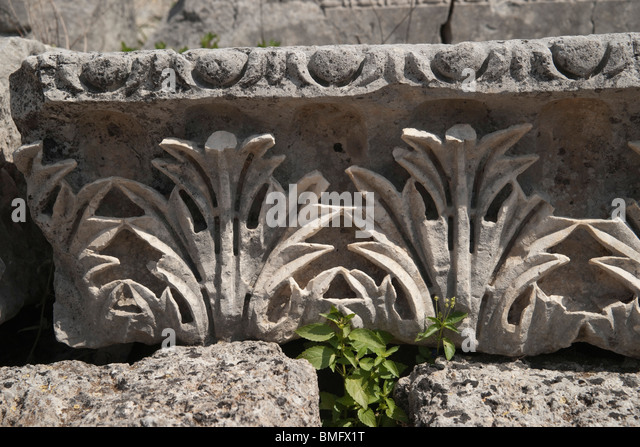 Turkey Antalya   Perge Or Ancient Pergamon   Acanthus Leaf Frieze   Stock  Image
